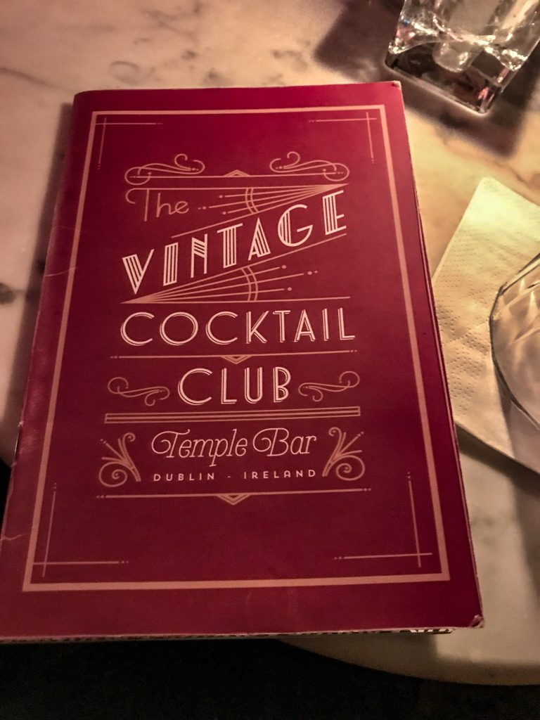 Dublin Cocktail Bars - Vintage Cocktail Club Menue